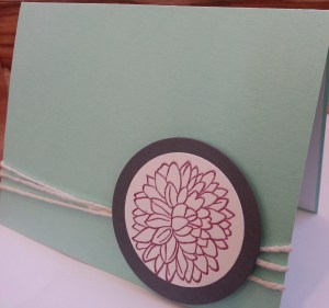 stamped mum card with twine