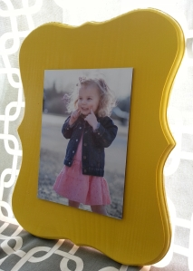 mounted photo in yellow frame