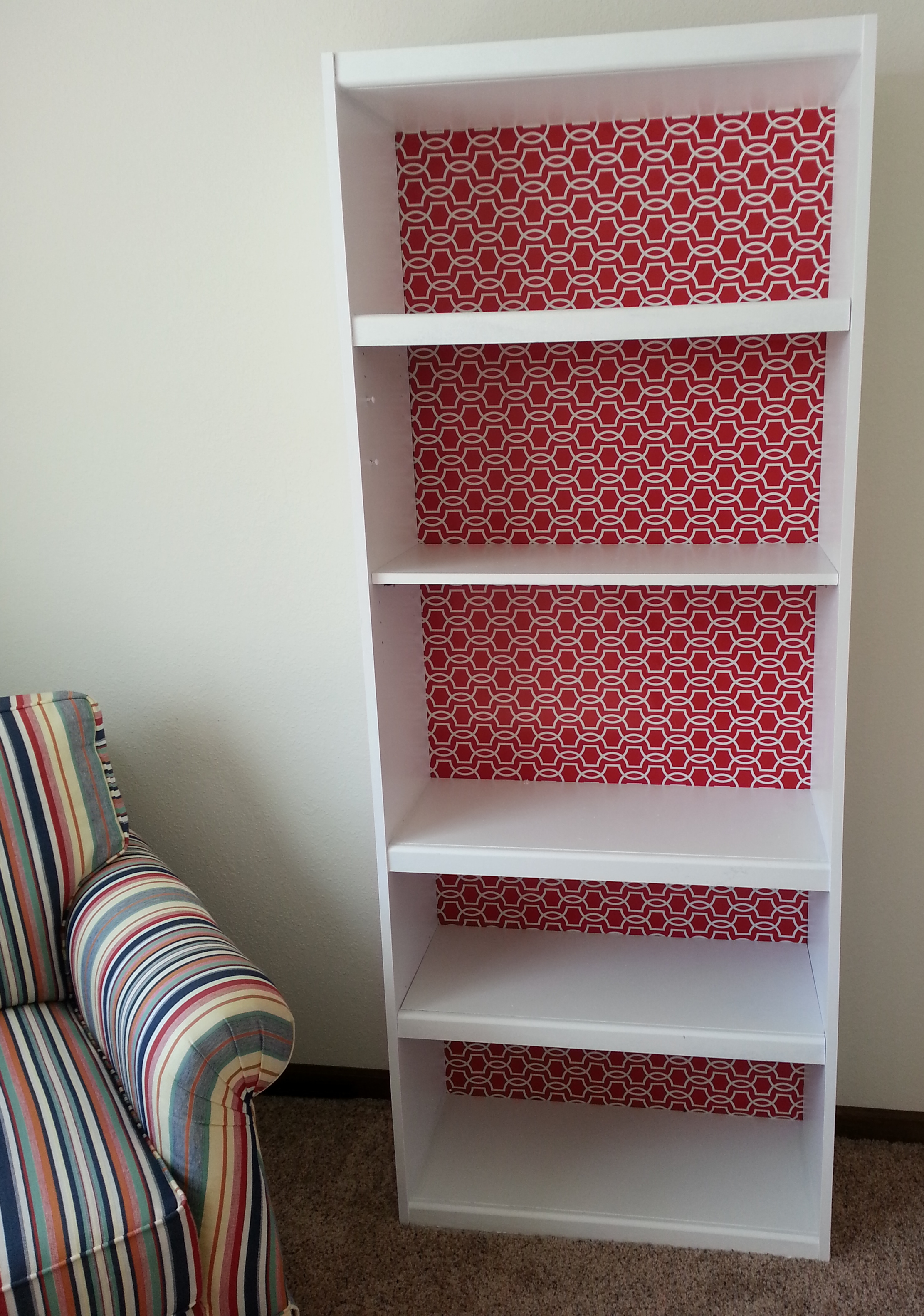 Incroyable How To Paint Laminate Furniture   Finished Painted And Wrapped Bookcase